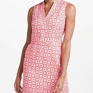 Boden Linen Notchneck Dress In Rosehip Daisy Chain